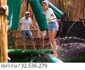 Купить «Obstacle course over the water - fun adventure in an amusement park», фото № 32536279, снято 21 января 2020 г. (c) Яков Филимонов / Фотобанк Лори