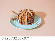 Купить «Healthy vegetarian cereal oats food, sweet dessert, snacks, culinary products. Oatmeal cookies for breakfast and ears on a blue turquoise plate on a background of delicate peach color in pastel tone and tint», фото № 32537971, снято 30 ноября 2019 г. (c) Светлана Евграфова / Фотобанк Лори