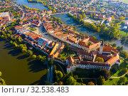 Купить «Aerial view of Czech town of Telc», фото № 32538483, снято 12 октября 2019 г. (c) Яков Филимонов / Фотобанк Лори