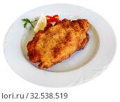 Купить «Tasty pork steak ljubljana stuffed with cheese and ham», фото № 32538519, снято 15 декабря 2019 г. (c) Яков Филимонов / Фотобанк Лори