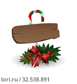Festive composition of wooden boards decorated with bows, Christmas tree branches and candy on a white background. Стоковая иллюстрация, иллюстратор Helen Burceva / Фотобанк Лори