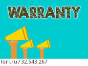 Купить «Handwriting text Warranty. Concept meaning Free service of repair and maintenance of the product sold Megaphones loudspeakers loud screaming scream talk talking speech grunge», фото № 32543267, снято 13 июля 2020 г. (c) easy Fotostock / Фотобанк Лори