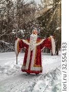Дед Мороз с посохом стоит на опушке заснеженного леса (2018 год). Редакционное фото, фотограф Владимир Сергеев / Фотобанк Лори