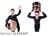 Купить «Funny man with drum on white», фото № 32554647, снято 13 мая 2013 г. (c) Elnur / Фотобанк Лори