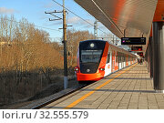 Moscow Central Diameters (MCD). Ivolga (designated EG2Tv), electric multiple unit passenger train, at Volokolamskaya station. Редакционное фото, фотограф Валерия Попова / Фотобанк Лори