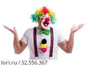 Купить «Funny clown acting silly isolated on white background», фото № 32556367, снято 26 мая 2017 г. (c) Elnur / Фотобанк Лори