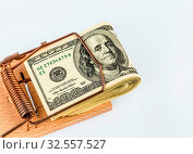 Dollar Geldscheine in einer Mausefalle. Symbolfoto für Schulden. Стоковое фото, фотограф Zoonar.com/Erwin Wodicka / age Fotostock / Фотобанк Лори