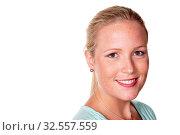 Das Portrait einer jungen Frau. Isoliert vor weißem Hintergrund. Стоковое фото, фотограф Zoonar.com/Erwin Wodicka / age Fotostock / Фотобанк Лори