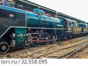 Купить «Steam-powered excursion train in the Bangkok railway station Hua Lamphong», фото № 32558095, снято 7 июля 2020 г. (c) age Fotostock / Фотобанк Лори