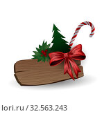 Festive composition with Christmas tree, sweets and the wooden board on a white background. Стоковая иллюстрация, иллюстратор Helen Burceva / Фотобанк Лори