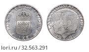 Монета 1 крона. Карл XVI Густав. Швеция. 1991 год. Стоковое фото, фотограф Евгений Ткачёв / Фотобанк Лори