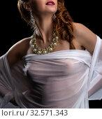 Chic and seduction. Pretty model posing in jewelry. Стоковое фото, фотограф Гурьянов Андрей / Фотобанк Лори