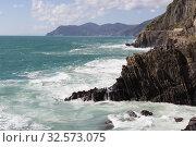 Landscape near Riomaggiore in the National Park of Cinque Terre, Liguria, Italy (2018 год). Редакционное фото, фотограф Daria Trefilova / Фотобанк Лори