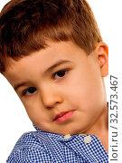 Kleiner Junge schaut trotzig, Symbol für Kindheit, Eigensinn, Trotz. Стоковое фото, фотограф Zoonar.com/Erwin Wodicka / age Fotostock / Фотобанк Лори