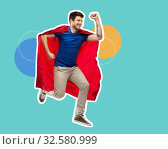 Купить «man in red superhero cape jumping in air», фото № 32580999, снято 3 февраля 2019 г. (c) Syda Productions / Фотобанк Лори