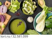Купить «green vegetables and cream soup in ceramic bowl», фото № 32581099, снято 12 апреля 2018 г. (c) Syda Productions / Фотобанк Лори