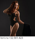 Купить «Sexy underwear model posing in high heels», фото № 32581423, снято 7 июля 2016 г. (c) Гурьянов Андрей / Фотобанк Лори