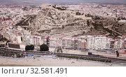 Купить «Picturesque panorama of coastal area of Spanish town of Alicante overlooking of Port», видеоролик № 32581491, снято 17 апреля 2019 г. (c) Яков Филимонов / Фотобанк Лори