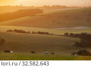 Купить «Autumn sunrise in South Downs National Park near Brighton, East Sussex, England.», фото № 32582643, снято 12 ноября 2019 г. (c) age Fotostock / Фотобанк Лори