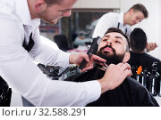 Adult guy creating shape for beard of client. Стоковое фото, фотограф Яков Филимонов / Фотобанк Лори