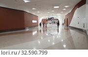 Купить «Doha, Qatar - Nov 20. 2019. The interior of a Corniche metro station», видеоролик № 32590799, снято 9 декабря 2019 г. (c) Володина Ольга / Фотобанк Лори