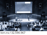 Купить «Speaker giving presentation on business conference event.», фото № 32590967, снято 18 октября 2019 г. (c) Matej Kastelic / Фотобанк Лори