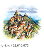 Купить «Three fortresses in San Marino», иллюстрация № 32616675 (c) Коваленкова Ольга / Фотобанк Лори