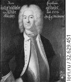 Attributed to Johan Henrik Scheffel, Gustaf Wilhelm von Köhler, 1690-1739, freeman, painting, 1729, Oil on canvas, Height, 80 cm (31.4 inches), Width, 64 cm (25.1 inches) (2019 год). Редакционное фото, фотограф ARTOKOLORO QUINT LOX LIMITED / age Fotostock / Фотобанк Лори