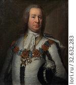 Attributed to Johan Henrik Scheffel, Fabian Wrede af Elimä dy, 1694-1768, painting, portrait, Fabian Wrede, oil on canvas, Height, 79 cm (31.1 inch), Width, 65, cm (25.5 inches) (2019 год). Редакционное фото, фотограф ARTOKOLORO QUINT LOX LIMITED / age Fotostock / Фотобанк Лори