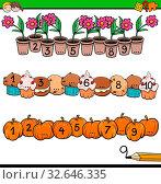 Cartoon Illustration of Educational Mathematical Activity for Children with Count to Ten Workbook. Стоковое фото, фотограф Zoonar.com/Igor Zakowski / easy Fotostock / Фотобанк Лори