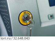 Close-up of a key in a keyhole. Стоковое фото, фотограф Pavel Biryukov / Фотобанк Лори