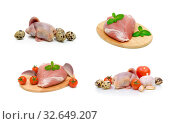 Pork meat, carcass quail and vegetables on a white background. Стоковое фото, фотограф Ласточкин Евгений / Фотобанк Лори
