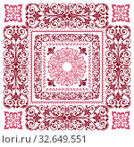Vector square frame template. Bandana with vintage ornament. Стоковая иллюстрация, иллюстратор Ольга Козырина / Фотобанк Лори