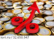 Купить «Символ красного растущего процента лежит на поверхности из российских монет», иллюстрация № 32650947 (c) WalDeMarus / Фотобанк Лори