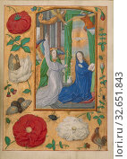 Купить «The Annunciation, Workshop of Gerard Horenbout (Flemish, 1465 - 1541), Cologne (written), Germany, about 1500, Tempera colors and gold paint on parchment, Leaf: 15.2 x 11.1 cm (6 x 4 3/8 in.)», фото № 32651843, снято 17 июня 2019 г. (c) age Fotostock / Фотобанк Лори