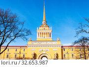 Купить «Front view of old Admiralty building from Alexander Garden in Saint Petersburg city in March», фото № 32653987, снято 19 февраля 2020 г. (c) easy Fotostock / Фотобанк Лори