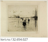 Lagune with Steamers and Gondolas, Venice, 1885, Robert Frederick Blum, American, 1857-1903, United States, Etching on ivory laid paper, 195 x 215 mm ... Редакционное фото, фотограф ARTOKOLORO QUINT LOX LIMITED / age Fotostock / Фотобанк Лори
