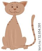 Cartoon Illustration of Funny Beige Cat Animal Mascot Character. Стоковое фото, фотограф Zoonar.com/Igor Zakowski / easy Fotostock / Фотобанк Лори
