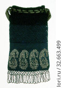 Купить «Bag, c. 1840, United States, Silk, double crochet stitch with metal beads and areas of openwork formed by double and treble crochet stitch combinations...», фото № 32663499, снято 1 июня 2020 г. (c) age Fotostock / Фотобанк Лори