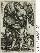 Купить «St. John, from The Four Evangelists, 1541, Sebald Beham, German, 1500-1550, Germany, Engraving in black on ivory laid paper, 43 x 28 mm (image/plate), 45 x 30 mm (sheet)», фото № 32664151, снято 27 мая 2020 г. (c) age Fotostock / Фотобанк Лори