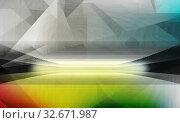 Купить «Abstraktes Liniennetz auf Hintergrund-Struktur mit Horizont-Linie. Perspektive, Linien, Raum, Bewegung, Kreativität, Symbol, Dynamik, Netz, Computer, Technik, Banner, Konzept.», фото № 32671987, снято 25 февраля 2020 г. (c) easy Fotostock / Фотобанк Лори