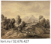 Купить «Hilly Landscape with Shepherd and Flock, n.d., Follower of Thomas Gainsborough, English, 1727-1788, England, Charcoal with stumping on tan wove paper, 281 × 371 mm», фото № 32676427, снято 5 июня 2020 г. (c) age Fotostock / Фотобанк Лори