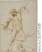 Купить «Marsyas Tied to a Tree, c. 1550, Follower of Baccio Bandinelli, Italian, 1493-1560, Florence, Pen and brown ink on ivory laid paper, laid down on ivory wove paper, tipped onto gray card, 284 × 205 mm», фото № 32677635, снято 5 июня 2020 г. (c) age Fotostock / Фотобанк Лори