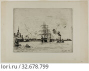 The Old Port of Rotterdam, 1863, Johan Barthold Jongkind, Dutch, 1819-1891, Holland, Etching on cream laid paper, 231 x 312 mm (image), 241 x 320 mm (plate), 326 x 459 mm (sheet) Редакционное фото, фотограф ARTOKOLORO QUINT LOX LIMITED / age Fotostock / Фотобанк Лори
