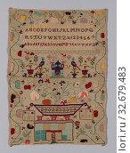 Sampler, 1852, Elisha Ryan (Irish, born 1837/38), Ireland, Ireland, Cotton, plain weave, cutwork embroidered with wool in overcast stitch, embroidered... Редакционное фото, фотограф ARTOKOLORO QUINT LOX LIMITED / age Fotostock / Фотобанк Лори