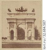 Porta Sempione, Milan, Unknown, Milan, Italy, 1852, Albumenized salted paper print, 6.5 × 5.4 cm (2 9/16 × 2 1/8 in.) (2019 год). Редакционное фото, фотограф ARTOKOLORO QUINT LOX LIMITED / age Fotostock / Фотобанк Лори