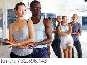 Купить «Couples enjoying dances in studio», фото № 32696143, снято 30 июля 2018 г. (c) Яков Филимонов / Фотобанк Лори