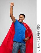 Купить «indian man in superhero cape makes winning gesture», фото № 32697095, снято 17 ноября 2019 г. (c) Syda Productions / Фотобанк Лори