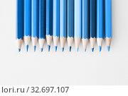 Купить «pencils in different shades of classic blue color», фото № 32697107, снято 17 марта 2016 г. (c) Syda Productions / Фотобанк Лори