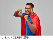 Купить «indian man in superhero cape makes winning gesture», фото № 32697299, снято 17 ноября 2019 г. (c) Syda Productions / Фотобанк Лори